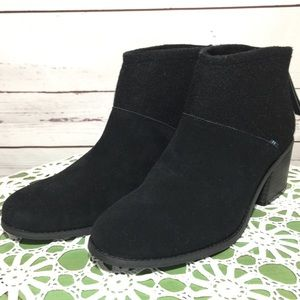 NWOB TOMS Lacy Black Suede Ankle Boots